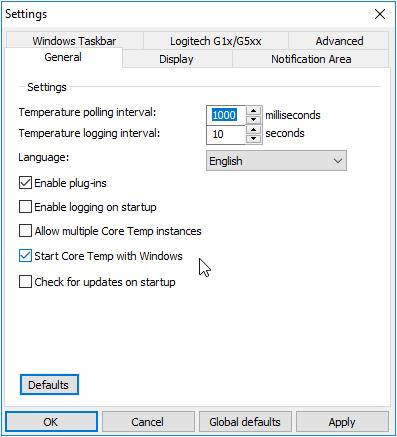 Core Temp khởi động cùng windows